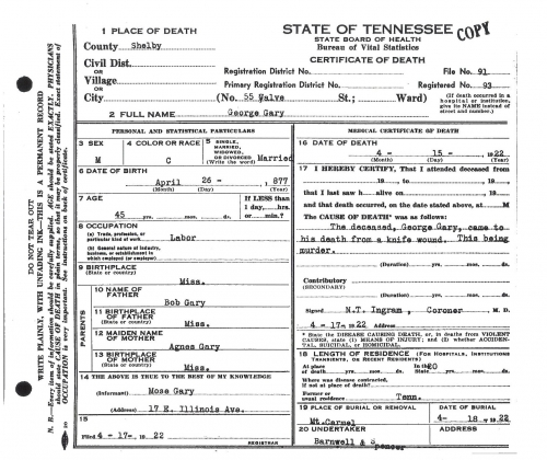 George Gary's Death Certificate