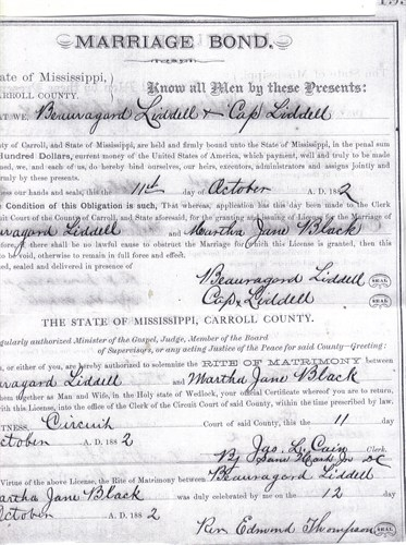 Beaugard Liddell Sr & Martha Jane Black Marriage License (Oct. 12, 1882)