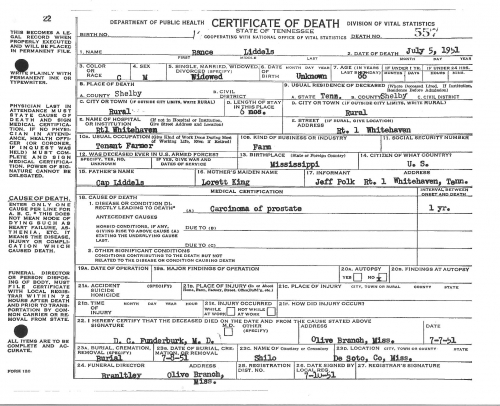 Rance Liddell's Death Certificate (July 5, 1951)