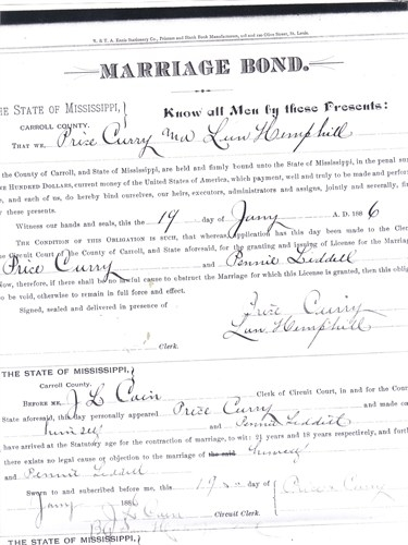 Pennie Liddell & Price Curry Sr Marriage License (July 19, 1886)