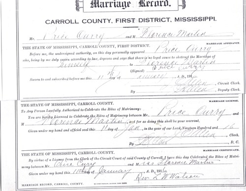 Price Curry Jr & Florence Martin Marriage License (Jan. 11, 1916)