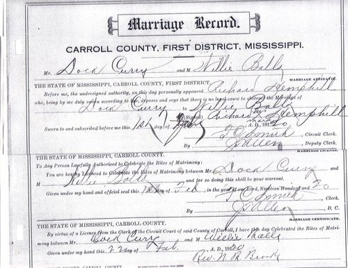 Doc Curry & Willie Mae Ball Marriage License (Feb. 22, 1920)